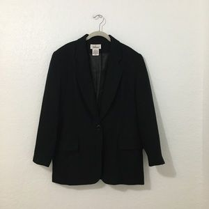 Vintage Black Wool Blazer Jacket